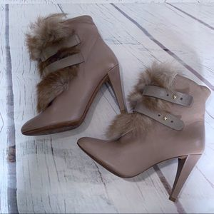 REBECCA MINKOFF Leather High Heel Fur Trimmed Boot